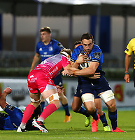 2nd October 2020; RDS Arena, Dublin, Leinster, Ireland; Guinness Pro 14 Rugby, Leinster versus Dragons; Jack Conan (Leinster) attempts to get past a tackle from Aaron Wainwright (Dragons)
