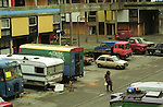 Run down council house tower block Otterburn Close in Hulme, Manchester, UK 1993. <br /> A traveller community were based there for some time in the early/mid 90s.
