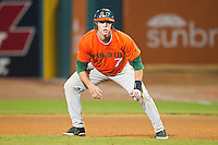 Peter O'Brien #7 of the Miami Hurricanes takes his lead off of first base against the Wake Forest Demon Deacons at NewBridge Bank Park on May 25, 2012 in Winston-Salem, North Carolina.  The Hurricanes defeated the Demon Deacons 6-3.  (Brian Westerholt/Four Seam Images)