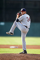 Mahoning Valley Scrappers pitcher Casey Shane (34) delivers a pitch during a game against the Batavia Muckdogs on July 3, 2015 at Dwyer Stadium in Batavia, New York.  Batavia defeated Mahoning Valley 7-4.  (Mike Janes/Four Seam Images)