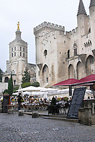 restaurant terrace in front of pope's palace avignon rhone france