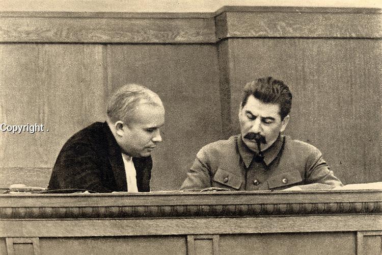 Joseph Stalin and Nikita Khruscchev, 1936