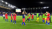 ORLANDO, FL - NOVEMBER 15: Sebastian Lletget #17 and the USMNT celebrate their victory over Canada 4-1 during a game between Canada and USMNT at Exploria Stadium on November 15, 2019 in Orlando, Florida.
