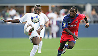 Allan Lalin (left) kicks the ball against Leonel Saint Preux (right). Honduras defeated Haiti 1-0 during the First Round of the 2009 CONCACAF Gold Cup at Qwest Field in Seattle, Washington on July 4, 2009.