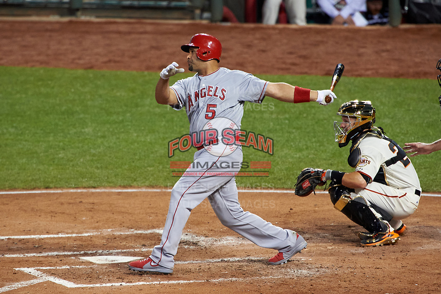 Los Angeles Angels Albert Pujols bats during the MLB All-Star Game on July 14, 2015 at Great American Ball Park in Cincinnati, Ohio.  (Mike Janes/Four Seam Images)