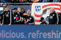 FOXBOROUGH, MA - SEPTEMBER 29: Richie Williams updates the shape during a game between New York City FC and New England Revolution at Gillette Stadium on September 29, 2019 in Foxborough, Massachusetts.