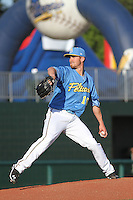 Myrtle Beach Pelicans pitcher Sam Stafford #19 on the mound during a game against the Potomac Nationals at Ticketreturn.com Field at Pelicans Ballpark on April 16, 2014 in Myrtle Beach, South Carolina. Potomac defeated Myrtle Beach 7-3. (Robert Gurganus/Four Seam Images)
