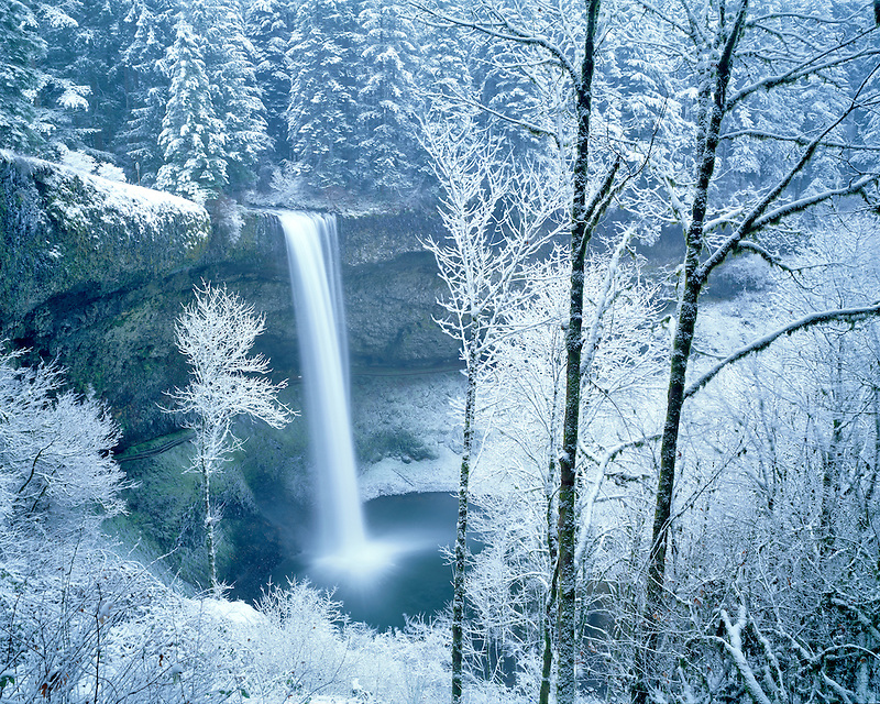 South Falls with snow. Silver Falls State Park, Oregon