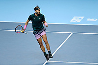 19th November 2020; O2, London;  Rafael Nadal of Spain returns during the singles group match against StefanTsitsipas of Greece at the ATP, Tennis World Tour Finals 2020 in London