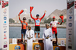 The final podium 1st overall Alexey Lutsenko (KAZ) Astana Pro Team, Domenico Pozzovivo (ITA) Bahrain-Merida finishes 2nd overall and Jesus Herrada (ESP) Cofidis 3rd after Stage 6 of the 10th Tour of Oman 2019, running 135.5km from Al Mouj Muscat to Matrah Corniche, Oman. 21st February 2019.<br /> Picture: ASO/P. Ballet | Cyclefile<br /> All photos usage must carry mandatory copyright credit (© Cyclefile | ASO/P. Ballet)