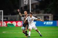 LAKE BUENA VISTA, FL - JULY 23: Aljaz Struna #5 of the Houston Dynamo battles for the ball during a game between Los Angeles Galaxy and Houston Dynamo at ESPN Wide World of Sports on July 23, 2020 in Lake Buena Vista, Florida.