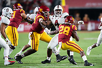 LOS ANGELES, CA - SEPTEMBER 11: Thomas Booker during a game between University of Southern California and Stanford Football at Los Angeles Memorial Coliseum on September 11, 2021 in Los Angeles, California.