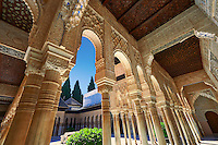 Arabesque Moorish architectureof the Patio de los Leones (Court of the Lions)   of the Palacios Nazaries,  Alhambra. Granada, Andalusia, Spain.