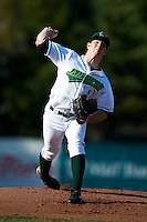Jamestown Jammers pitcher Mason Hope #11 during the first game of a doubleheader against the State College Spikes at Russell Diethrick Park on August 30, 2012 in Jamestown, New York.  State College defeated Jamestown 4-2.  (Mike Janes/Four Seam Images)