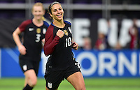 Minneapolis, MN - October 23, 2016: The U.S. Women's National team go up  3-1 over Switzerland with Carli Lloyd contributing two goals during an international friendly game at U.S. Bank Stadium.