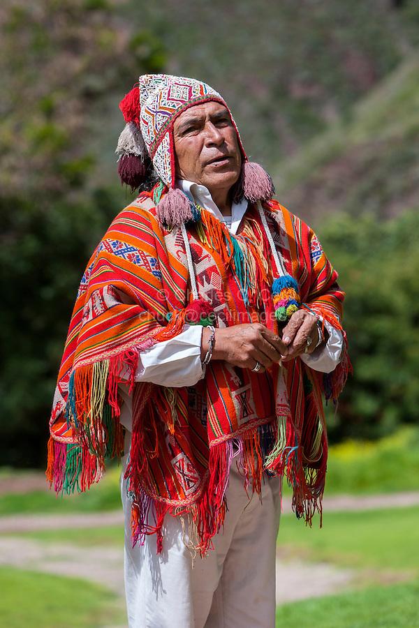 Peru, Urubamba Valley.  Quechua Priest Performing Welcoming Ceremony, Hacienda Urubamba.