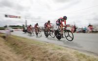 Team BMC paced by Samuel Sanchez (ESP/BMC) with 3km to go<br /> <br /> stage 9: TTT Vannes - Plumelec (28km)<br /> 2015 Tour de France