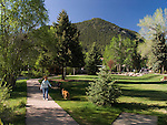 spring, walk, woman, dog, (MR), Riverwalk, Estes Park, Colorado, Rocky Mountains, USA