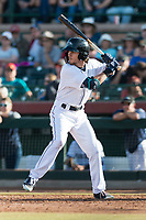 Peoria Javelinas outfielder Ian Miller (9), of the Seattle Mariners organization, at bat during the Arizona Fall League Championship game against the Salt River Rafters at Scottsdale Stadium on November 17, 2018 in Scottsdale, Arizona. Peoria defeated Salt River 3-2 in 10 innings. (Zachary Lucy/Four Seam Images)