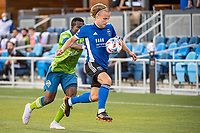 SAN JOSE, CA - MAY 12: Tommy Thompson #22 of the San Jose Earthquakes controls the ball during a game between San Jose Earthquakes and Seattle Sounders FC at PayPal Park on May 12, 2021 in San Jose, California.