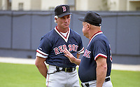 Boston Red Sox coaches Butch Hobson and Don Zimmer during spring training circa 1992 at Chain of Lakes Park in Winter Haven, Florida.  (MJA/Four Seam Images)