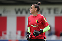 goalkeeper Nicky Evrard (21) of Belgium  pictured during the warming up of a friendly female soccer game between the national teams of Luxemburg and Belgium , called the Red Flames  in a preparation towards the qualification for the  FIFA Women's World Cup , on saturday 12 th of June 2021  in Wiltz , Luxemburg . PHOTO SPORTPIX BE   SPP   SEVIL OKTEM
