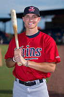 Andrew Bechtold (47) of the Elizabethton Twins poses for a photo prior to the game against the Danville Braves at American Legion Post 325 Field on July 1, 2017 in Danville, Virginia.  The Twins defeated the Braves 7-4.  (Brian Westerholt/Four Seam Images)