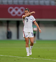 TOKYO, JAPAN - JULY 21: Kelley O'Hara #5 of the USWNT stands on the field during a game between Sweden and USWNT at Tokyo Stadium on July 21, 2021 in Tokyo, Japan.