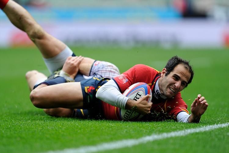 Pablo Feijoo of Spain scores a try during the iRB Marriott London Sevens at Twickenham on Saturday 11th May 2013 (Photo by Rob Munro)
