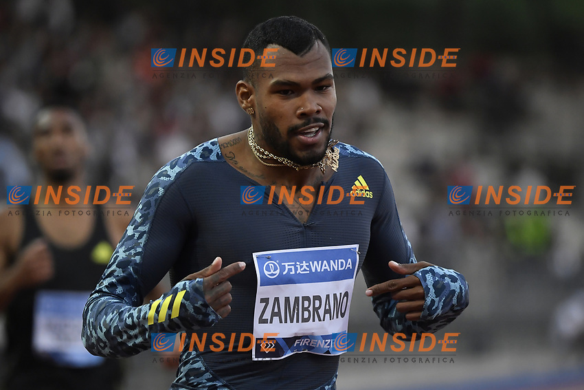 Anthony Jose Zambrano of Colombia reacts after winning the 400m men during the Wanda Diamond League Golden Gala meeting at the Luigi Ridolfi stadium in Florence, Italy, June 10th, 2021. Photo Andrea Staccioli / Insidefoto