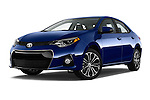 Stock pictures of low aggressive front three quarter view of 2016 Toyota Corolla S Premium 4 Door Sedan Low Aggressive