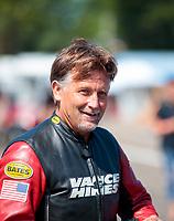 Aug 18, 2019; Brainerd, MN, USA; NHRA top fuel nitro Harley Davidson motorcycle rider Doug Vancil during the Lucas Oil Nationals at Brainerd International Raceway. Mandatory Credit: Mark J. Rebilas-USA TODAY Sports
