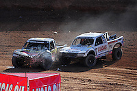 Dec. 10, 2011; Chandler, AZ, USA;  LOORRS pro 4 unlimited driver Todd LeDuc (4) and Carl Renezeder (17) during round 15 at Firebird International Raceway. Mandatory Credit: Mark J. Rebilas-
