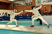 BOGOTA – COLOMBIA – 26 – 05 – 2017: Koki Kano (Izq.) de Japon combate con Michelle Niggeler (Der.) de Suiza, durante Varones Mayores Epee del Gran Prix de Espada Bogota 2017, que se realiza en el Centro de Alto Rendimiento en Altura, del 26 al 28 de mayo del presente año en la ciudad de Bogota.  / Koki Kano (L) from Japan, fights with Michelle Niggeler (R) from Switzerland, during Senior Men´s Epee of the Grand Prix of Espada Bogota 2017, that takes place in the Center of High Performance in Height, from the 26 to the 28 of May of the present year in The city of Bogota.  / Photo: VizzorImage / Luis Ramirez / Staff.