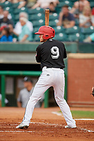 Chattanooga Lookouts center fielder Tanner English (9) at bat during a game against the Jackson Generals on May 9, 2018 at AT&T Field in Chattanooga, Tennessee.  Chattanooga defeated Jackson 4-2.  (Mike Janes/Four Seam Images)