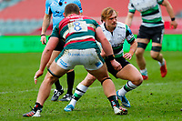 28th March 2021; Mattoli Woods Welford Road Stadium, Leicester, Midlands, England; Premiership Rugby, Leicester Tigers versus Newcastle Falcons; Sam Stuart of Newcastle Falcons looks to run into space around Jasper Wiese of Leicester Tigers