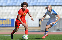 20180228 - LARNACA , CYPRUS :  Belgian Kassandra Missipo (left)  pictured with Czech Katerina Svitkova (r) during a women's soccer game between The Belgian Red Flames and the Czech Republic , on wednesday 28 February 2018 at GSZ Stadium in Larnaca , Cyprus . This is the first game in group B for Belgium during the Cyprus Womens Cup , a prestigious women soccer tournament as a preparation on the World Cup 2019 qualification duels. PHOTO SPORTPIX.BE   DAVID CATRY
