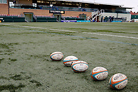 London Scottish balls lined up for the warm up during the Greene King IPA Championship match between Ealing Trailfinders and London Scottish Football Club at Castle Bar , West Ealing , England  on 19 January 2019. Photo by Carlton Myrie/PRiME Media Images