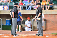 First base umpire and home plate umpire Brandon Blome before a game between the Kingsport Mets and the Greeneville Astros at Pioneer Park on July 1, 2017 in Greeneville, Tennessee. The Astros defeated the Mets 6-2. (Tony Farlow/Four Seam Images)