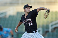Kannapolis Intimidators relief pitcher Lane Ramsey (22) in action against the Hickory Crawdads at Kannapolis Intimidators Stadium on May 6, 2019 in Kannapolis, North Carolina. The Crawdads defeated the Intimidators 2-1 in game one of a double-header. (Brian Westerholt/Four Seam Images)