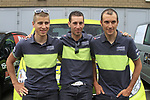 Peter Sagan (SVK), Vincenzo Nibali and Ivan Basso (ITA) at the Liquigas-Cannondale Team press conference in the Country Hall, Liege, Belgium before the 2012 Tour de France, Liege, Belgium. 28th June 2012.<br /> (Photo by Eoin Clarke/NEWSFILE)
