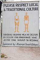 Nungwi, Tanzania, Zanzibar.  Sign Asking Foreigners to Respect Local Culture.