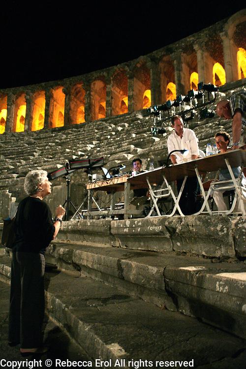 Monica Mason during a rehearsal at the Aspendos Theatre, Antalya, Turkey