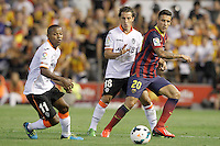 Valencia's Dorlan Pabon (l) and Andres Guardado (c) and FC Barcelona's Cristian Tello during La Liga match.September 1,2013. (ALTERPHOTOS/Acero) <br /> Football Calcio 2013/2014<br /> La Liga Spagna<br /> Foto Alterphotos / Insidefoto <br /> ITALY ONLY