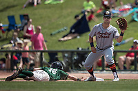 Bowling Green Hot Rods first baseman Nathaniel Lowe (30) catches a pickoff throw as Great Lakes Loons baserunner Gavin Lux (16) dives back during the Midwest League baseball game on June 4, 2017 at Dow Diamond in Midland, Michigan. Great Lakes defeated Bowling Green 11-0. (Andrew Woolley/Four Seam Images)