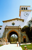 Santa Barbara CA: County Courthouse. Archictect William Mooser III, 1929. Spanish-Moorish-Revival. Photo 1984.
