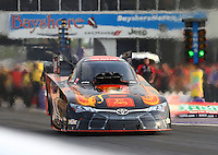 Apr 24, 2015; Baytown, TX, USA; NHRA  funny car driver Alexis DeJoria during qualifying for the Spring Nationals at Royal Purple Raceway. Mandatory Credit: Mark J. Rebilas-