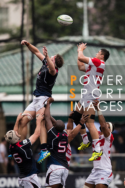 Kotaro Yatabe of Japan (R) during the Asia Rugby Championship 2017 match between Hong Kong and Japan on May 13, 2017 in Hong Kong, Hong Kong. (Photo by Cris Wong / Power Sport Images)
