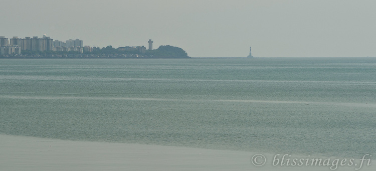 This shot of the famous Prongs Reef Lighthouse in Mumbai, India was taken with a zoom lens at 9 km distance.