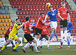 St Johnstone v Clyde…17.04.21   McDiarmid Park   Scottish Cup<br />Liam Craig gets between Declan Butterworth and Lloyd Robertson<br />Picture by Graeme Hart.<br />Copyright Perthshire Picture Agency<br />Tel: 01738 623350  Mobile: 07990 594431
